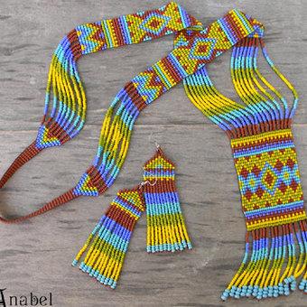 Этнический комплект из бисера Африка 2 (гердан + серьги) .